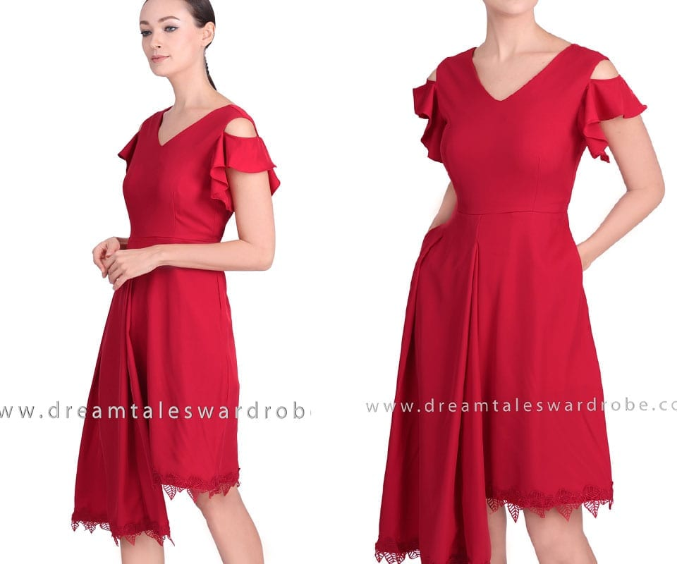 Asymmetric Hem Ruffle Sleeve Dress