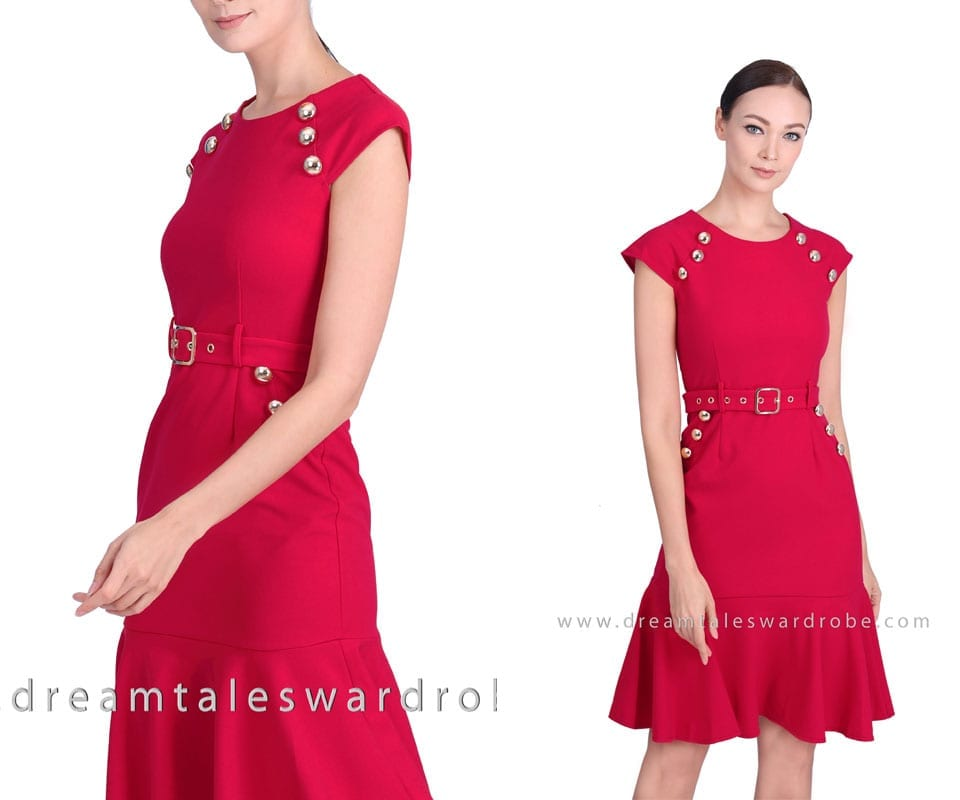 Belted Ruffle Midi Dress