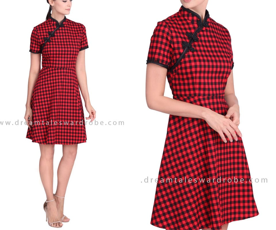 Gingham Plaid Cheongsam Dress