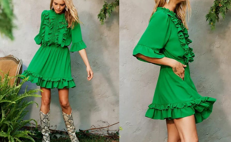 Sustainable Ruffle Lace Dress
