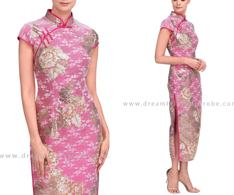 Sequin Long Cheongsam Dress