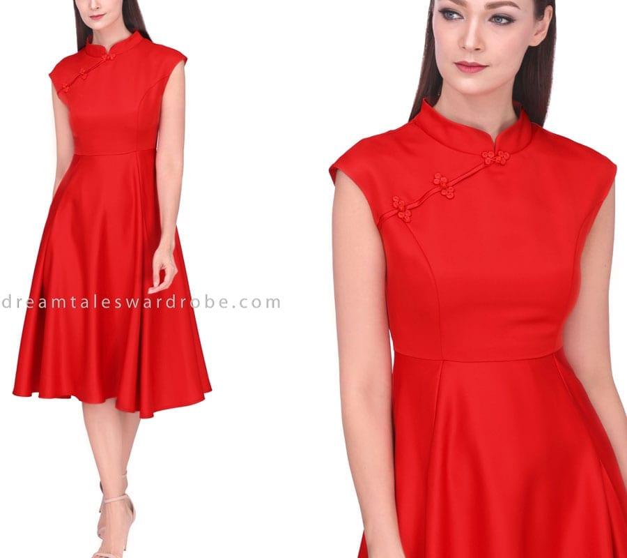 Midi Fit & Flare Cheongsam Dress