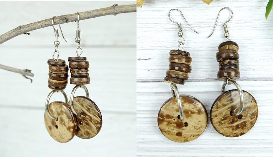 Coconut Shell Button Drop Earrings