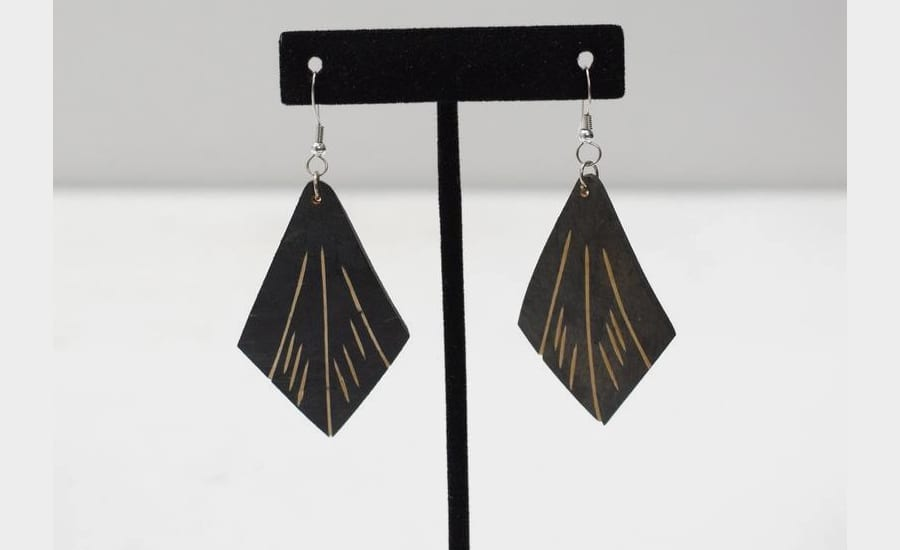 Statement Etched Coconut Geometric Earrings