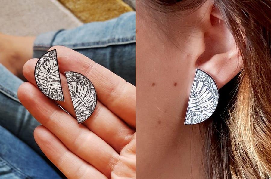Monstera Geometric Stud Earrings