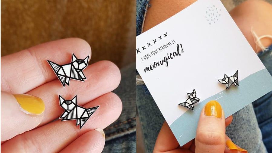 Cat Lover Geometric Earrings