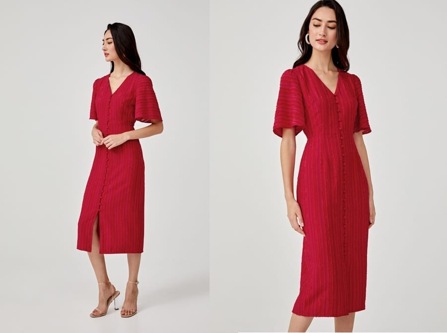 Red Jacquard Midi Dress