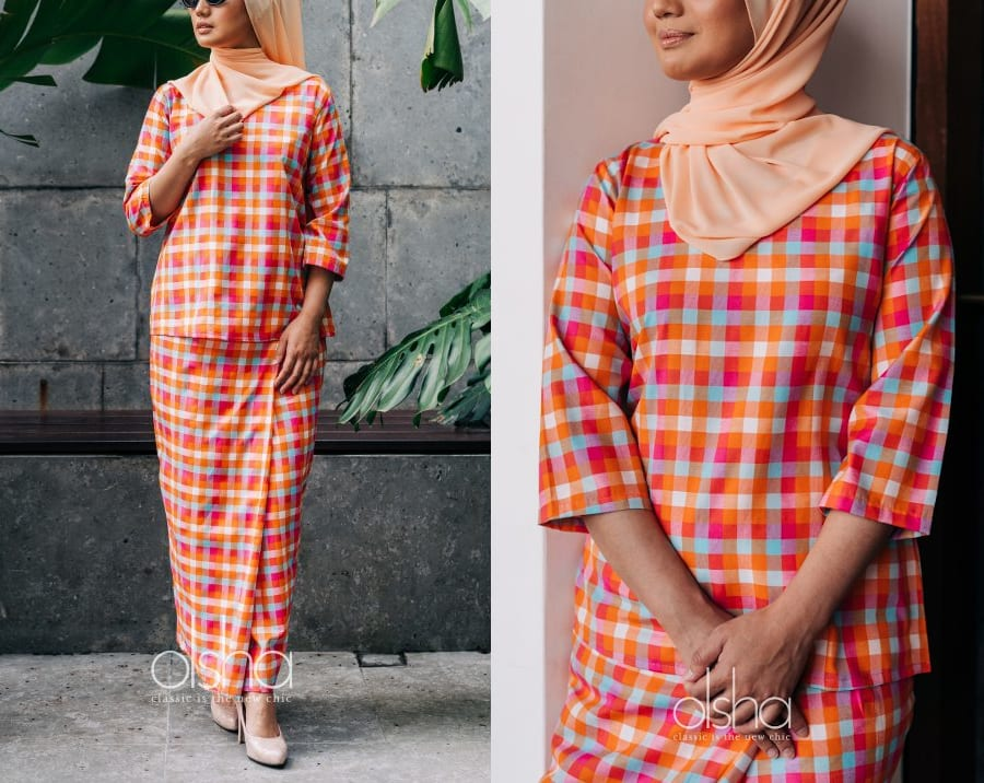 Orange Plaid Kurung Set