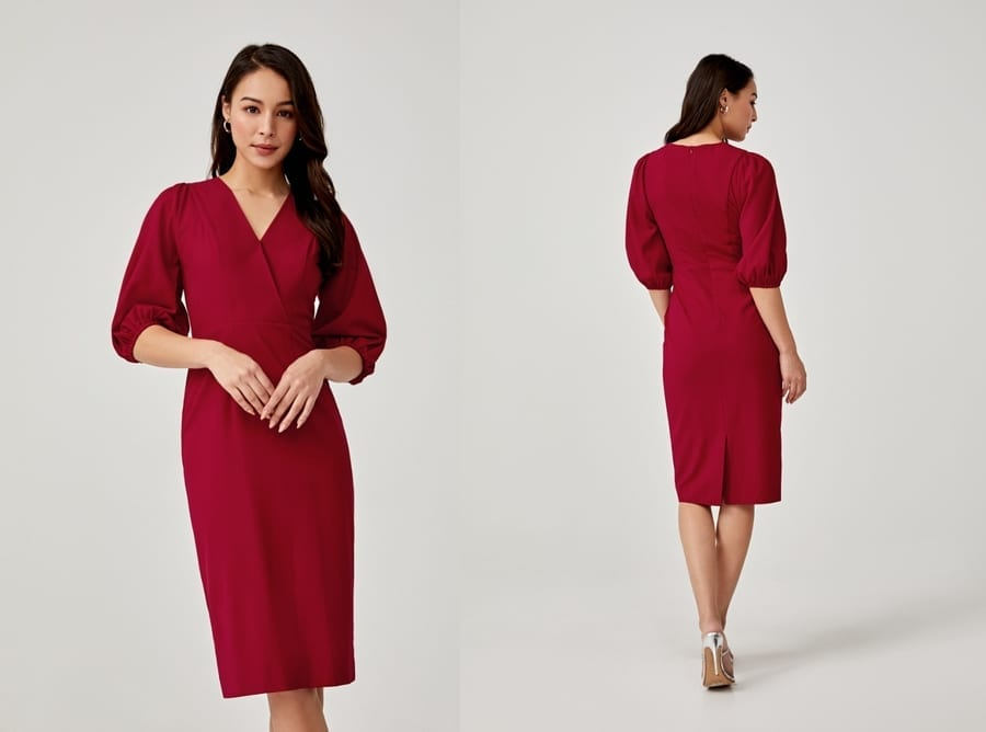 Puff Sleeve Midi Red Dress