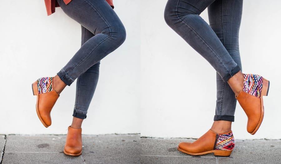 Leather Ankle Boots With Geometric Interest