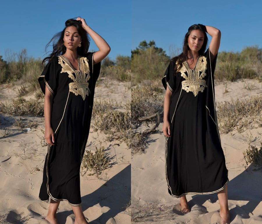 Black Kaftan Dress With Gold Accents