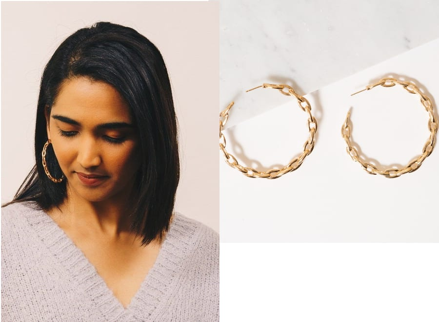 Statement Gold Chain Hoop Earrings