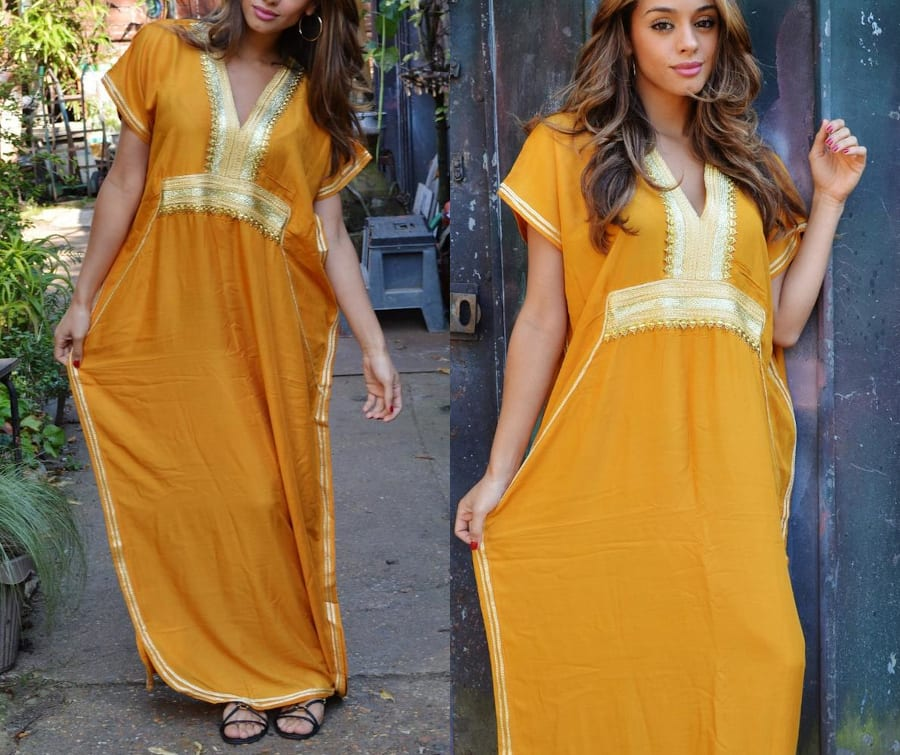 Mustard Yellow Kaftan Dress