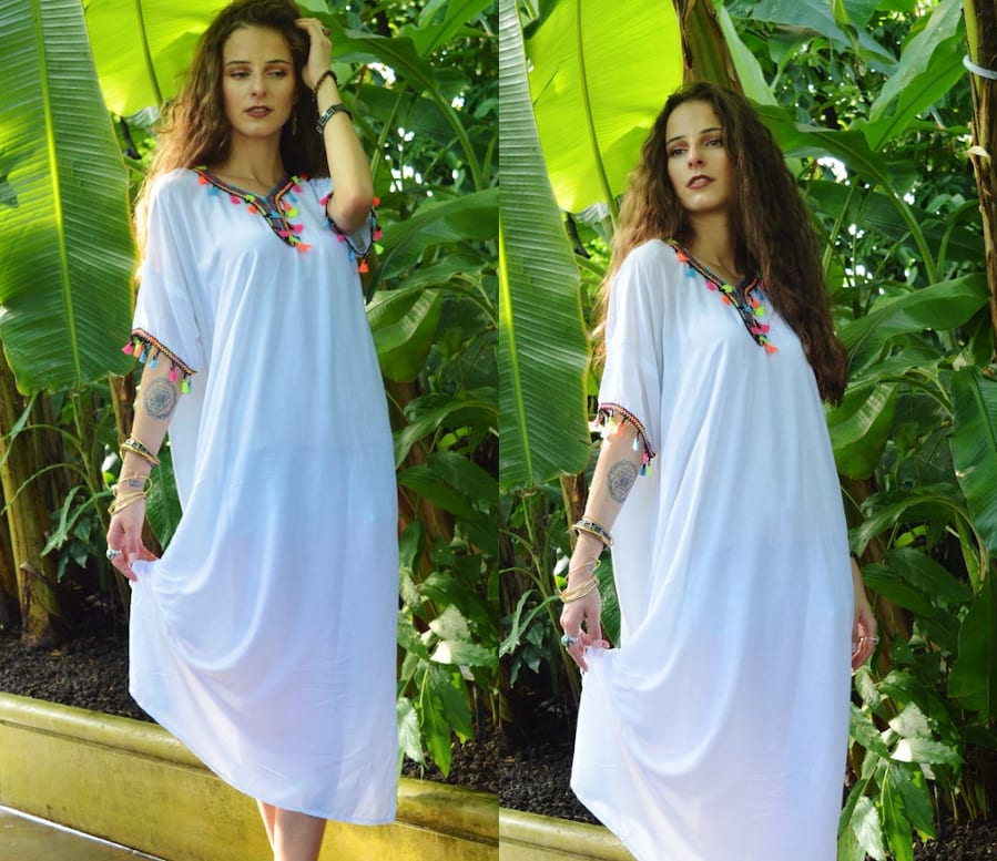 Kaftan Dress With Tassels