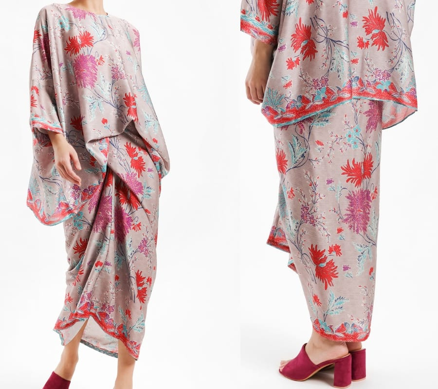 Red Cocoon Floral Kurung Set