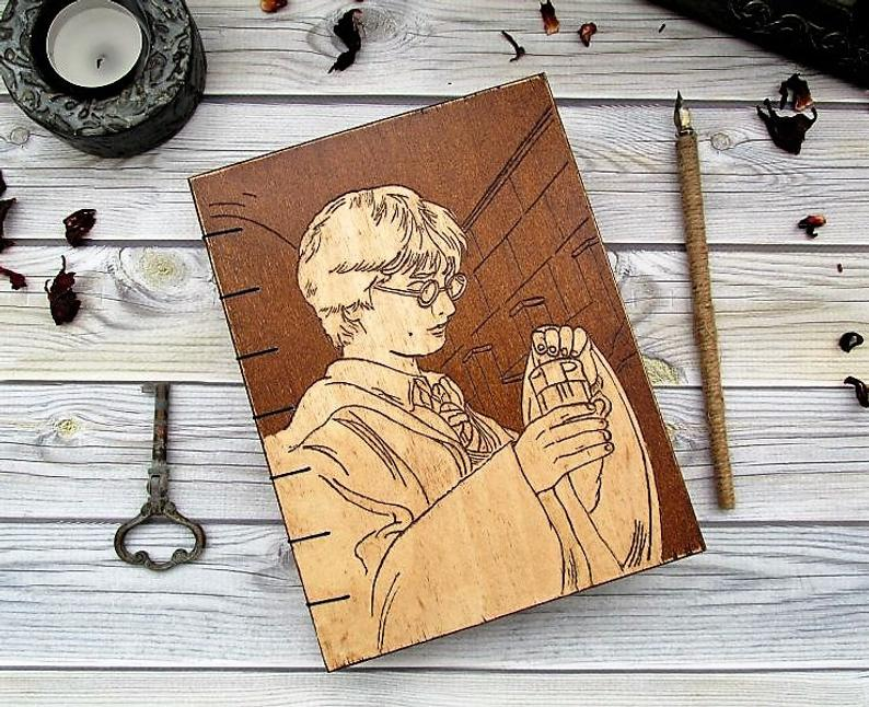 Aged Engraved Wood Cover Notebook