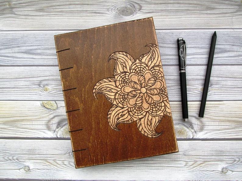 Flower Engraved Wooden Notebook