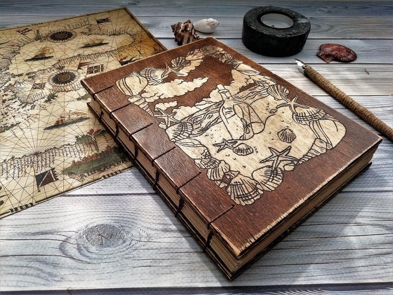 Sea Engraved Wooden Notebook