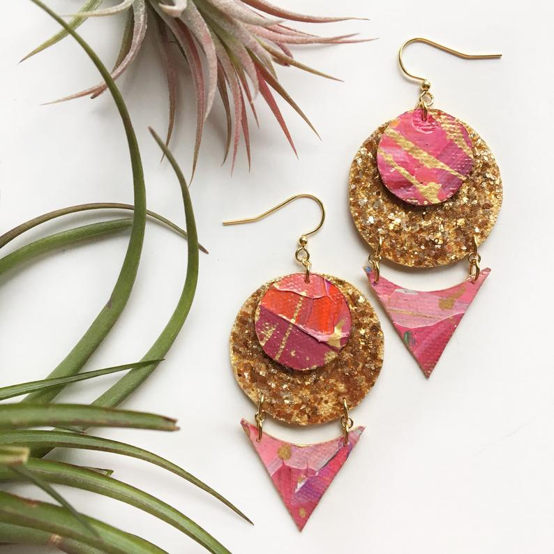 Gold Pink Drop Cloth Earrings