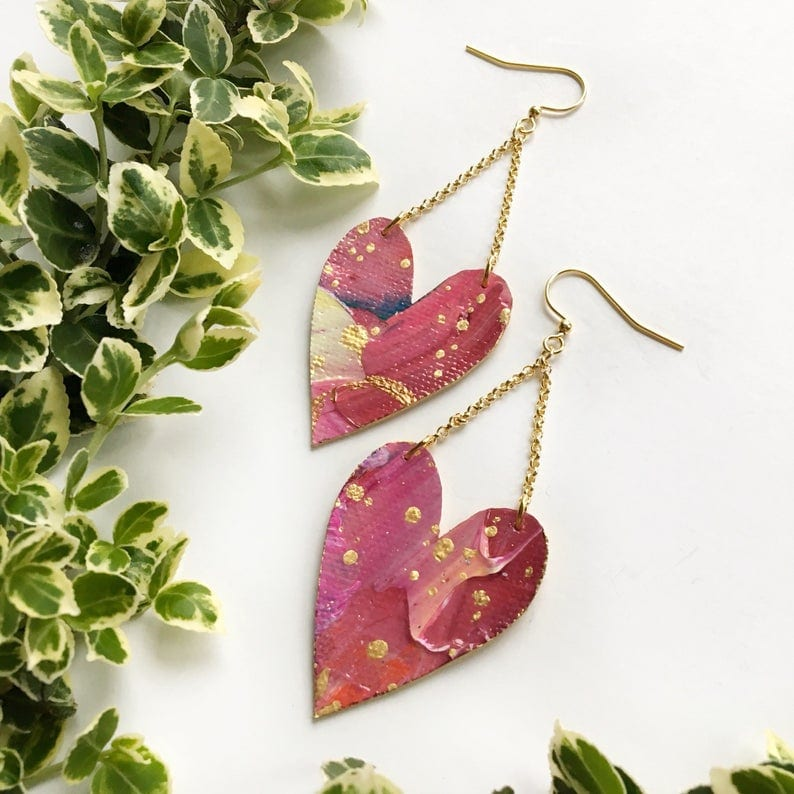 Gold Pink Heart Drop Cloth Earrings