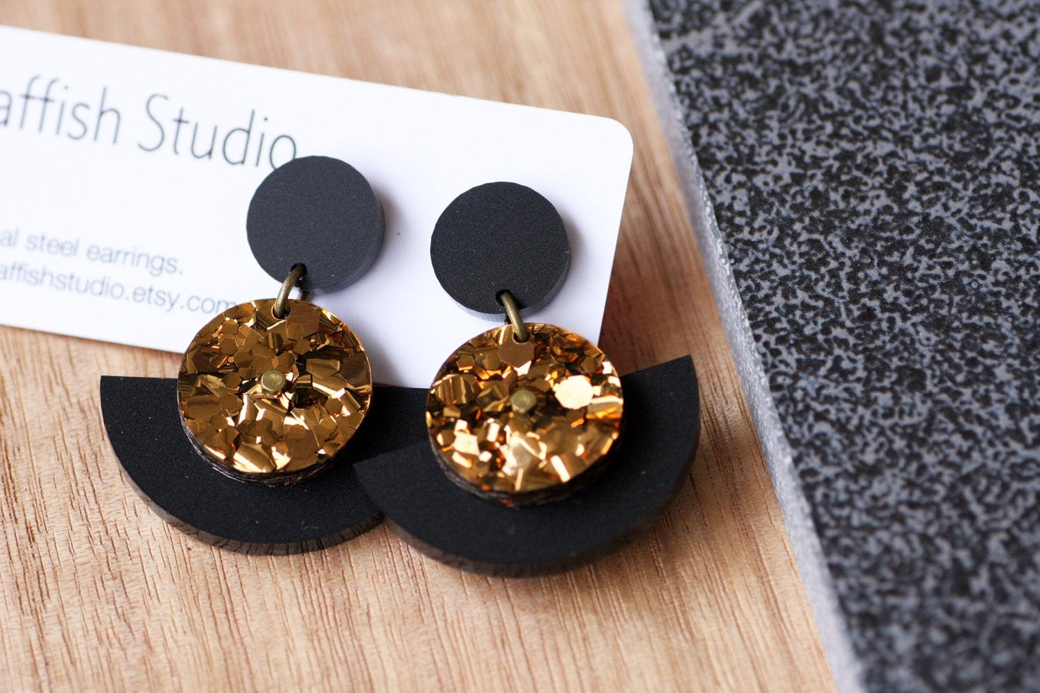 Statement Acrylic Earrings With Glitter