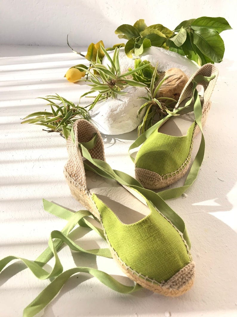 Green Wedge Espadrilles