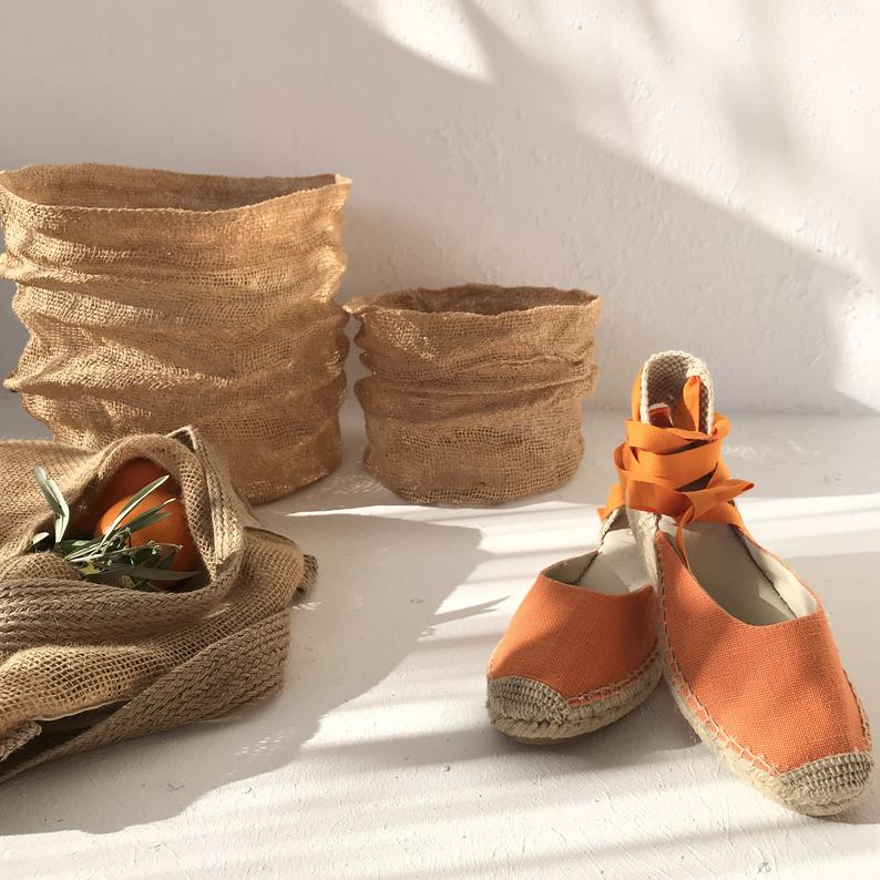 Orange Lace Up Summer Espadrilles