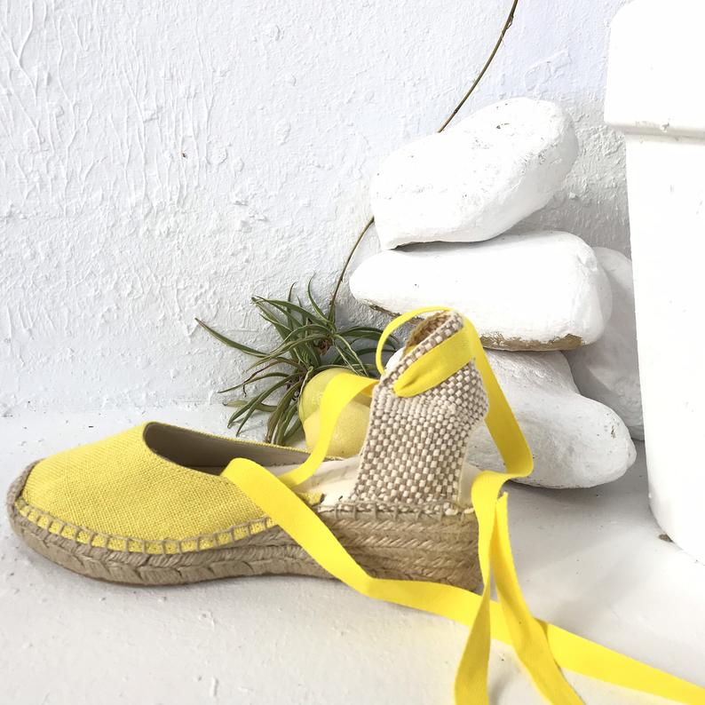 Yellow Lace Up Espadrilles
