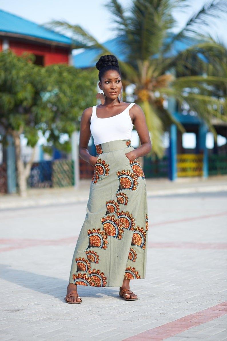 Long Ankara Print Skirt