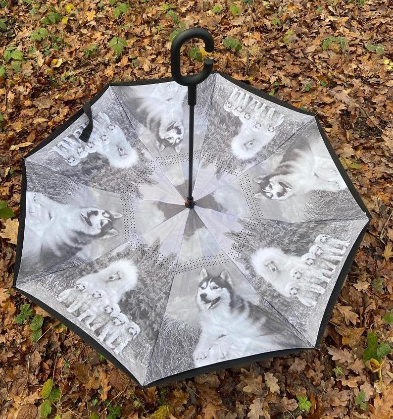 Reversible Dog Lover C Handle Umbrella