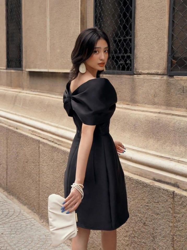 Taffeta Bow Silk Dress