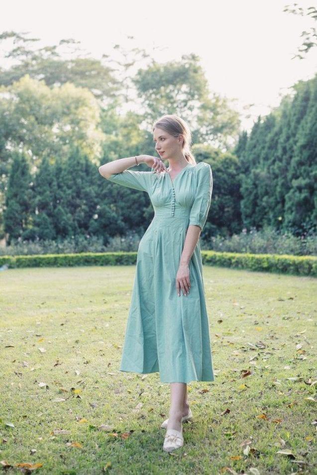 Vintage 80s Linen Midi Dress