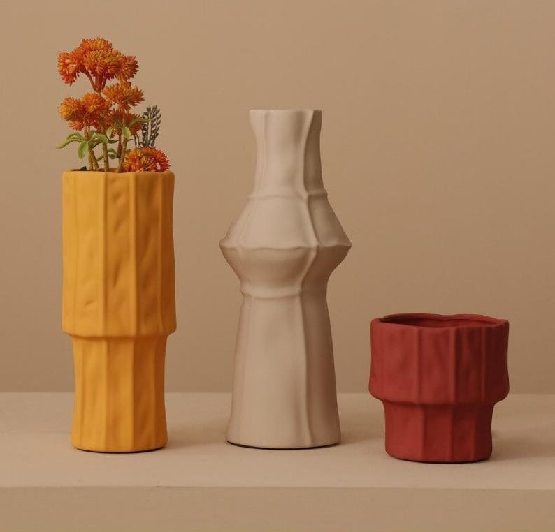 Colored Textured Vintage Style Ceramic Vases