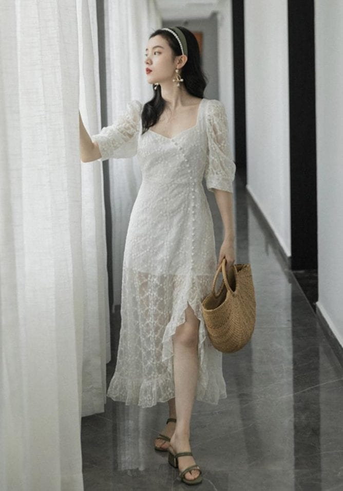 embroidered lace summer midi dress
