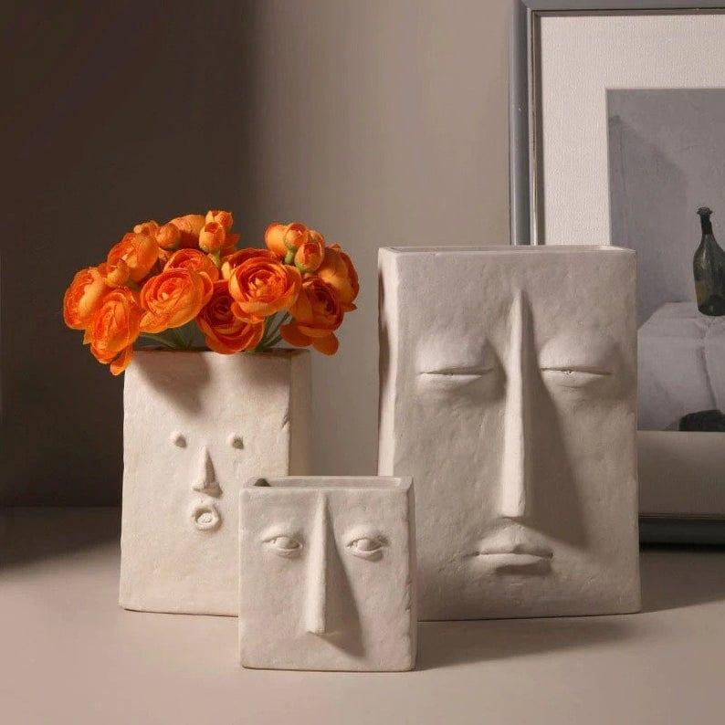 Expressive Face Minimalist Ceramic Vases