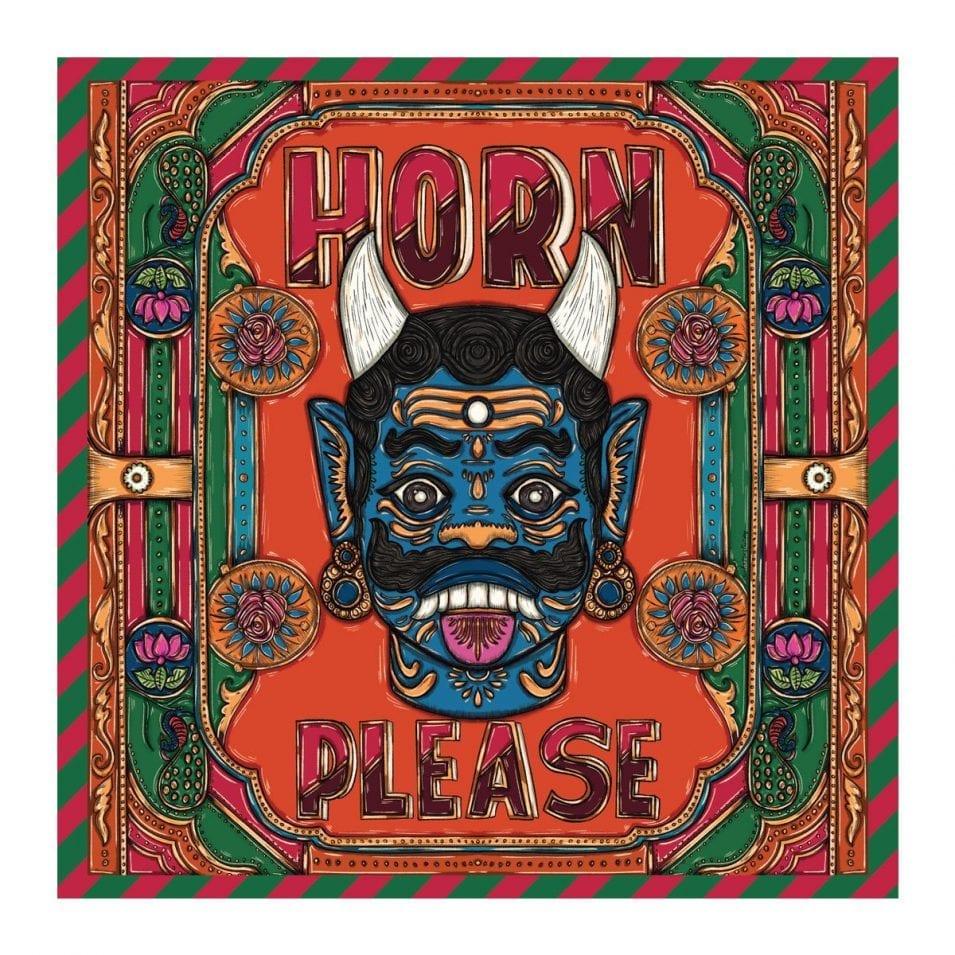 Horn Please Saree / Indian Truck Art Saree