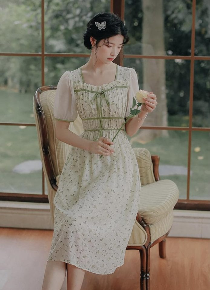 milkmaid summer retro chiffon dress