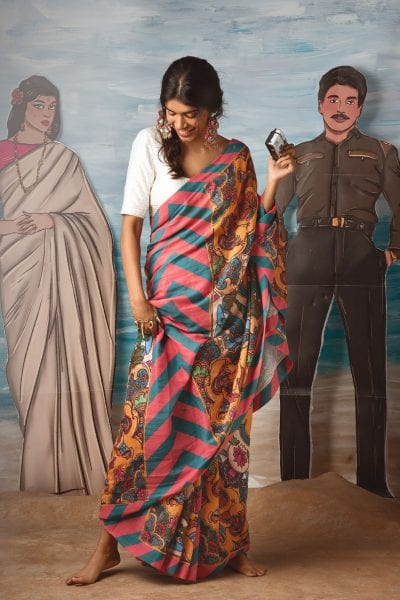Artistic Muslin Sarees Inspired By Indian Truck Art