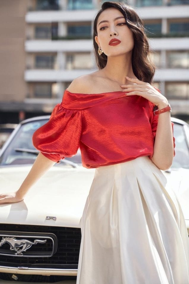One shoulder loose red silk blouse