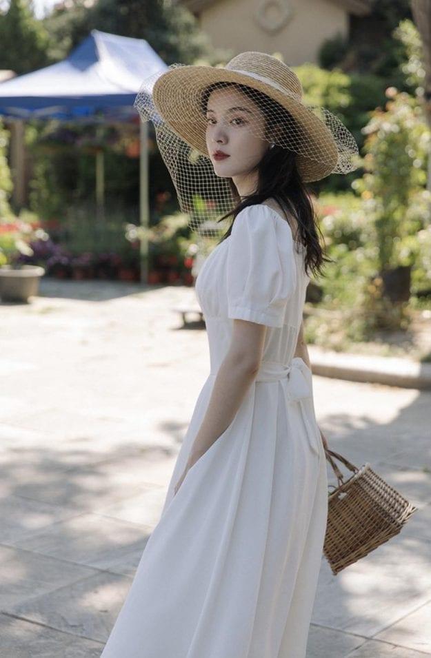 prairie princess style midi dress