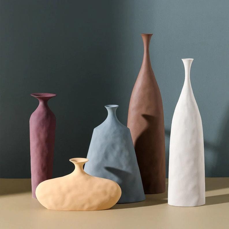 Textured Minimal Colored Ceramic Vases