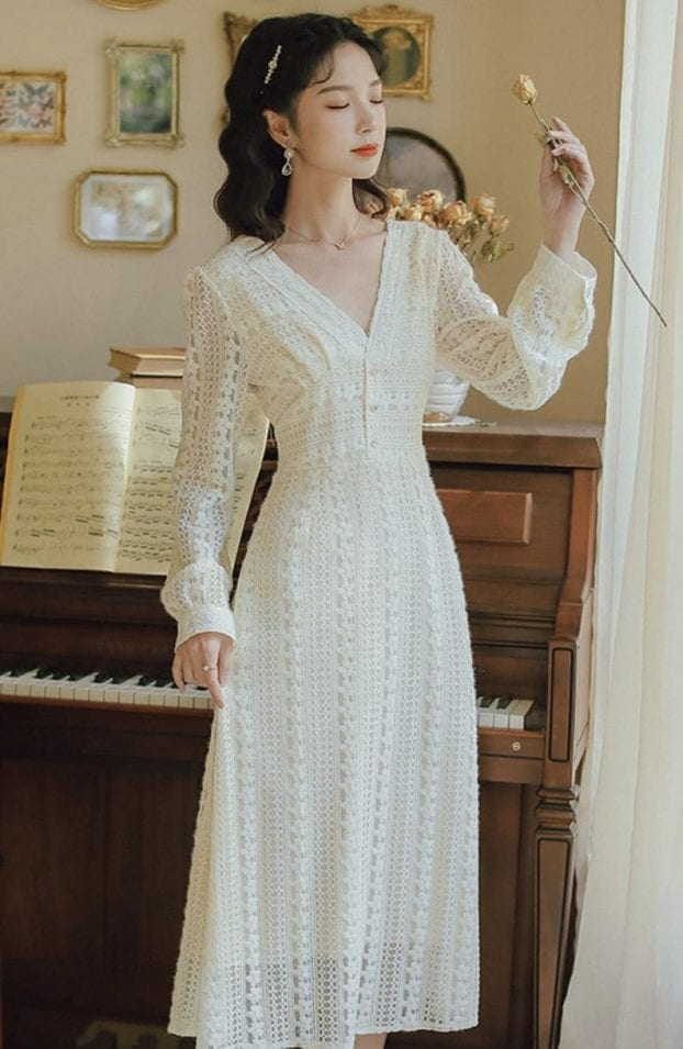 vintage style lace embroidered dress