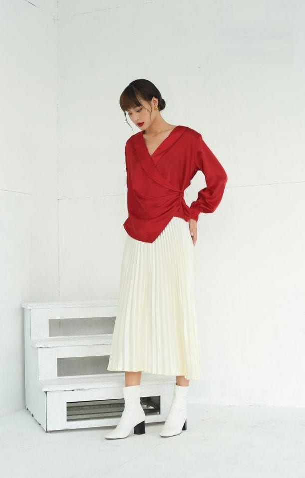 Wrap button silk long sleeve red blouse