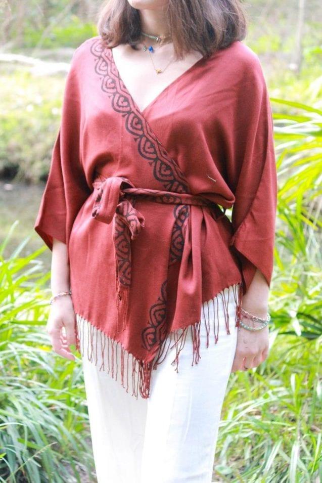 Bohemian hand block kimono style cardi // AnakizOrganic