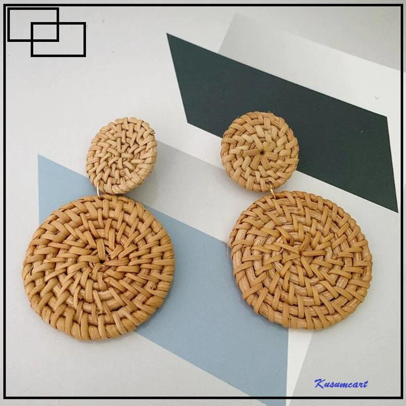Dangle Round Rattan Earrings // Kusumcart
