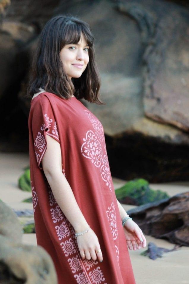Eco-friendly block print kimono dress // AnakizOrganic
