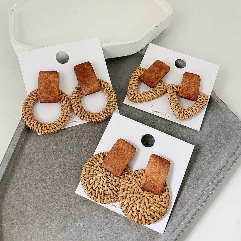 Geometric Style Rattan Earrings // LazySalmon