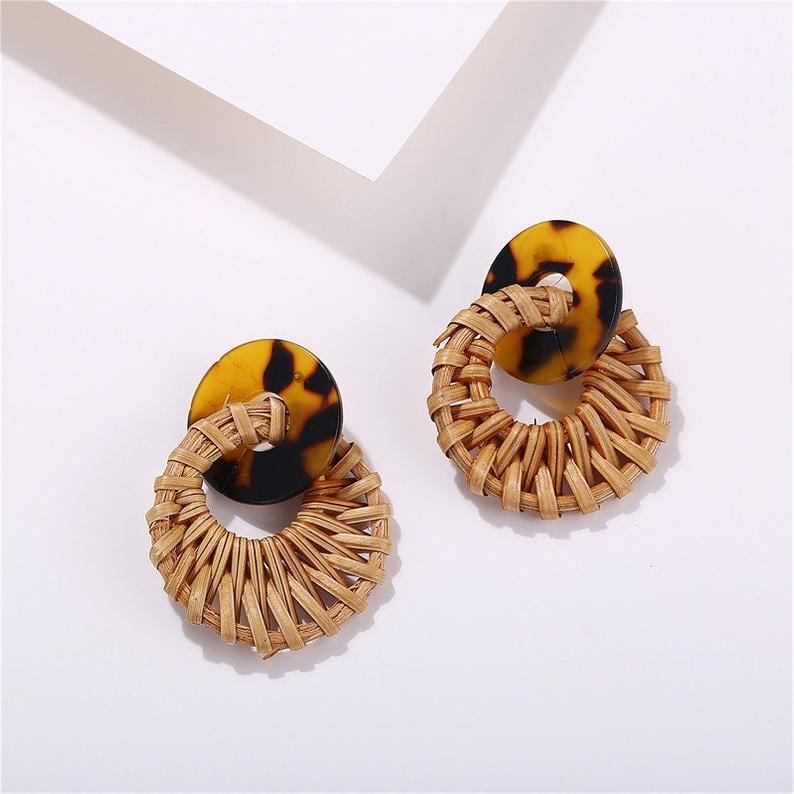 Leopard & Rattan Earrings // KindlyFree