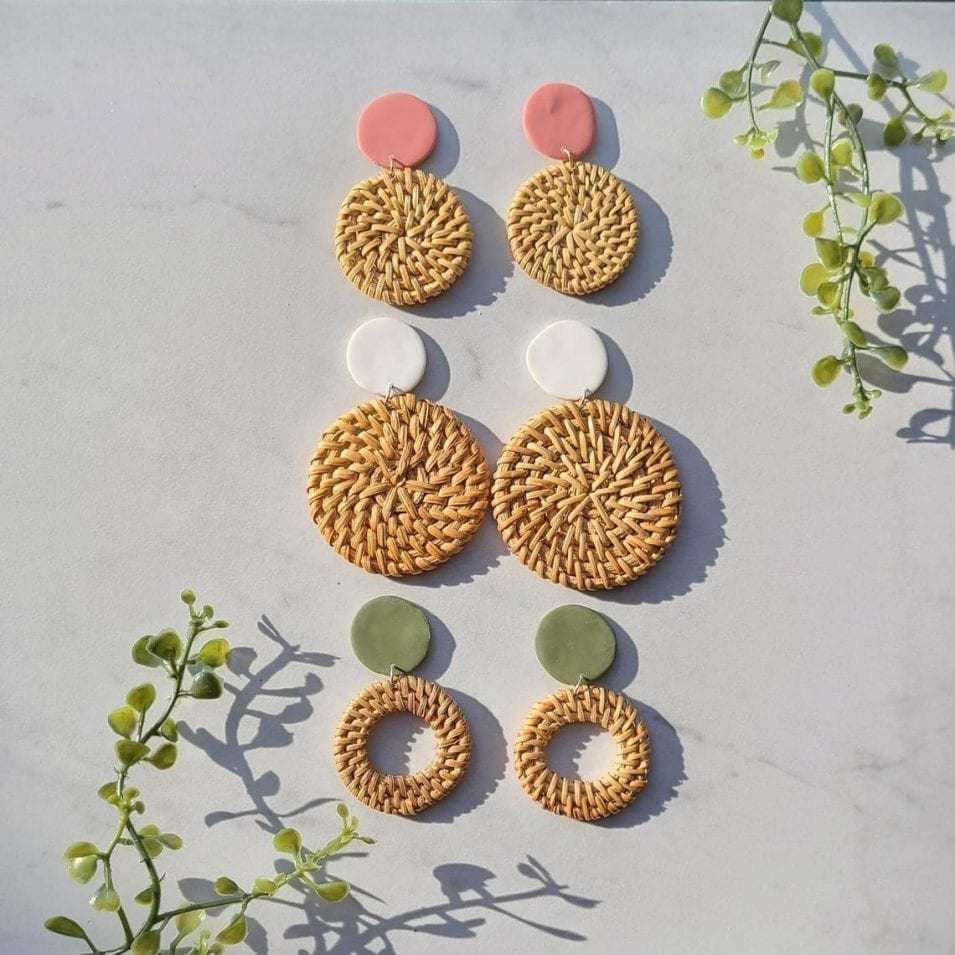 Polymer Clay Rattan Earrings // ApricityClay