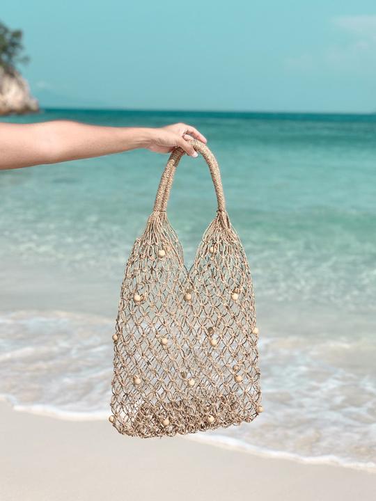Hand knit pearl rattan bag